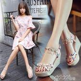 魚嘴涼鞋 女夏季韓版新款坡跟厚底防水台高跟百搭松糕水鑽魚嘴女鞋 coco衣巷