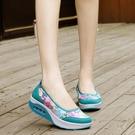 搖搖鞋 透氣搖搖鞋女厚底坡跟老北京布鞋女一腳蹬2021夏季新款鏤空網鞋女寶貝計畫 上新
