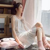 純棉吊帶睡裙女士夏季薄款小清新微性感寬鬆全棉夏天睡衣大碼中裙艾美時尚衣櫥