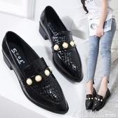牛津鞋 春秋英倫學院風牛津鞋女鞋黑色小皮鞋韓版低跟單鞋3cm上班工作鞋 格蘭小舖