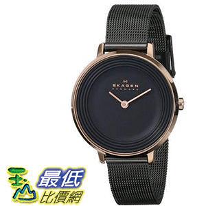[104美國直購] Skagen 女士手錶 Women s SKW2277 Ditte Rose-Tone Stainless Steel Watch with Black Mesh Bracelet $7504