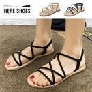 [Here Shoes]涼拖鞋-絨面羅馬交叉鞋面 套腳編織鞋底壓紋 純色簡約涼拖鞋-AD632-1