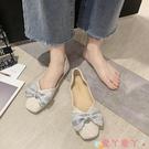 豆豆鞋 仙女風單鞋女2021年早春新款蝴蝶結奶奶鞋懶人一腳蹬豆豆鞋工作鞋 愛丫 新品