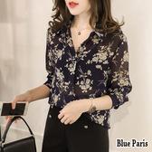 【藍色巴黎】 韓版襯領開襟排釦花花寬鬆長袖襯衫 上衣《3色》【28745】