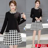 潮流時尚拼接七分袖高領收腰A字假兩件連身裙 S-3XL O-Ker 歐珂兒 LLB6881-C