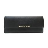 MICHAEL KORS 黑色牛皮金色LOGO二折式長夾 【二手名牌 BRAND OFF】
