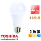 TOSHIBA東芝 第二代 11W LED廣角球泡型燈泡4入組 白光/自然光/黃光