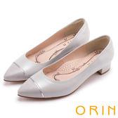 ORIN 優雅輕熟-異材質拼接尖頭羊皮粗跟鞋-灰色