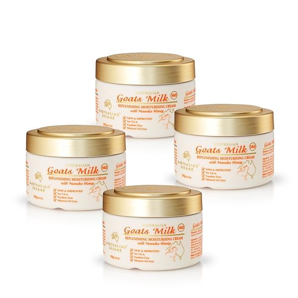 【澳洲 G&M】MKII金蓋山羊奶養護滋潤霜含曼努考蜂蜜(250g/罐 4入組)