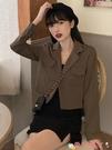 西裝外套 韓版2021春季短款設計感長袖西裝法式小外套寬鬆女上衣百搭矮個子 愛丫 免運