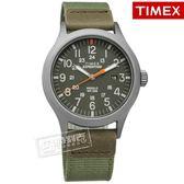 TIMEX 天美時 / TXTW4B14000 / 美國品牌 INDIGLO專利冷光照明 24小時顯示 真皮帆布手錶 灰x墨綠 40mm
