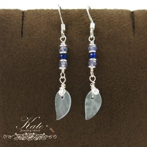 銀飾純銀耳環 天然堇青石天然海藍寶天然青金石 葉子 手工款 925純銀寶石耳環 KATE 銀飾