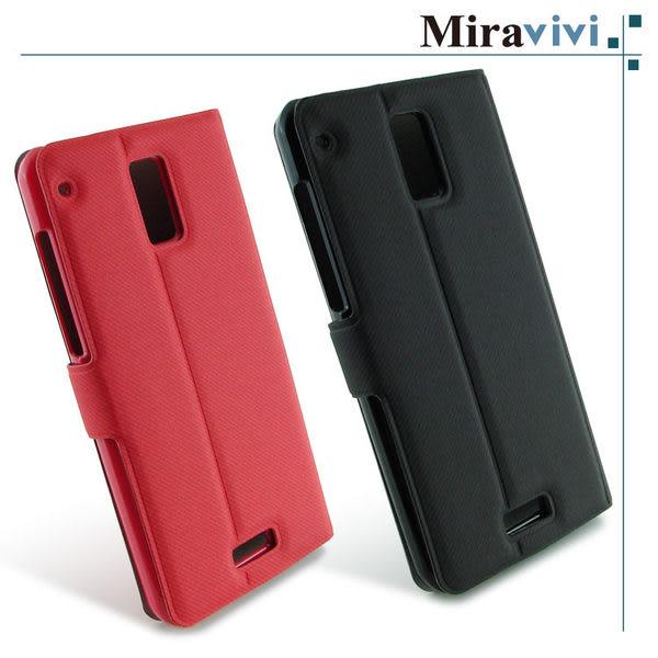 Miravivi HTC J 可立式簡約薄型筆記本皮套-黑/紅