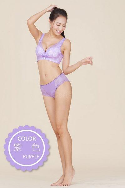 《成套內衣》法式香吻防擴舒壓無鋼圈蠶絲成套內衣 B-D罩32-40 (紫色) - 伊黛爾
