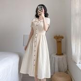 洋裝連身裙S-XL新款收腰遮跨法式複古桔梗連衣裙中長裙H318-D-6831.1號公館