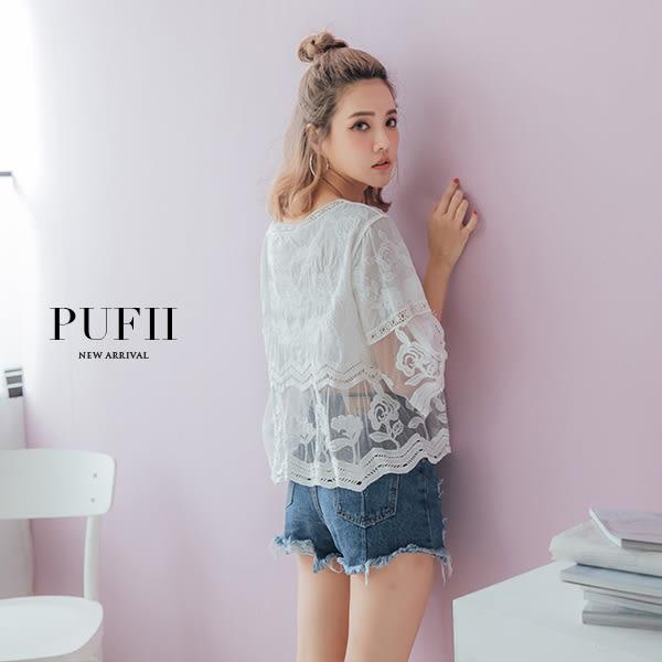 (現貨)PUFII-上衣 雕花拼接網紗透膚棉麻罩衫上衣 0412 現+預 春【ZP14355】