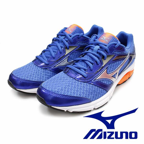 【MIZUNO促銷6折】 MIZUNO WAVE IMPETUS 4 足弓入門款 橘藍  男 運動鞋 J1GC161306