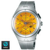 WIRED  SEIKO副牌 設計橘色錶盤計時三眼鋼錶 41mm AF8U27X1 7T92-0TB0O | 名人鐘錶高雄門市