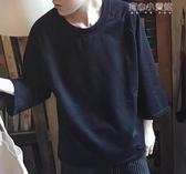 (快出)七分袖T恤夏季寬鬆男T恤潮青年七分蝙蝠袖短袖體恤純色簡約半中袖打底衫薄