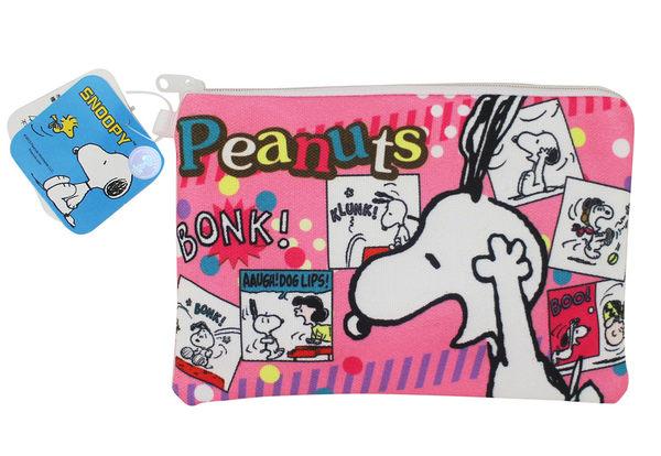 【卡漫城】 Snoopy 筆袋 粉 漫畫格 ㊣版 史奴比 史努比 鉛筆袋 零錢包 查裡布朗 拉鍊 資料袋 化妝包