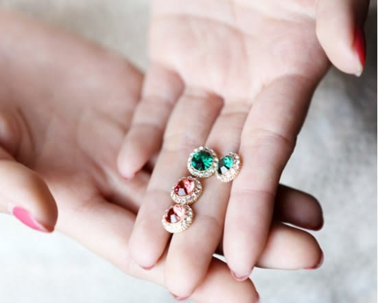 [協貿國際] 寶石水鑽晶瑩剔透寶石氣質耳釘耳飾 (15個價)