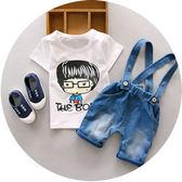 618好康鉅惠夏裝小童男嬰超萌連身衣服背帶開襠褲套裝潮