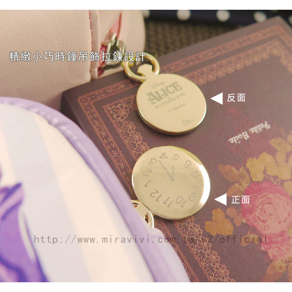 【Disney】迪士尼愛麗絲夢遊仙境.妙妙貓方型皮革化妝包/萬用包