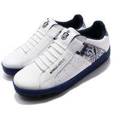 Royal Elastics 休閒鞋 Icon Alpha 白 藍 格紋 刺繡設計 無鞋帶設計 皮革鞋面 男鞋【PUMP306】 02081053