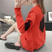 針織開衫韓版寬鬆長袖單排扣v領網紅毛衣外套披肩女    歐韓流行館