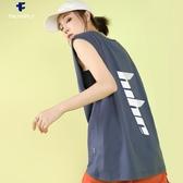 球衣 三角牙無袖T恤女夏寬鬆潮籃球運動bf港風球服跨欄坎肩外穿背心酷 麗人印象 免運