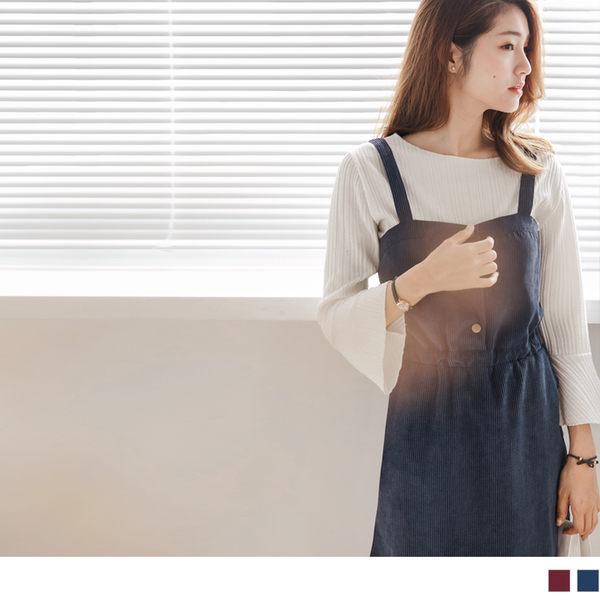 《DA4882-》素色燈芯絨前襟開釦縮腰吊帶裙.2色 OB嚴選