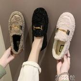 加絨豆豆鞋 毛毛鞋女冬外穿時尚秋冬新款加絨平底棉瓢鞋懶人一腳蹬豆豆鞋 快速出貨