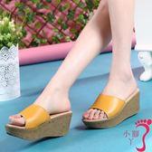 厚底拖鞋 高跟時尚真皮厚底涼拖鞋女鞋室外坡跟休閒媽媽鞋外穿百搭