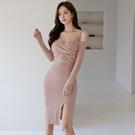 歐媛韓版 長袖洋裝 禮服新款女裝氣質修身吊帶露肩包臀開叉小心機性感連身裙
