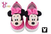 米奇90周年 3D大頭米妮萌娃 中小童 魔鬼氈 迪士尼 MIT MICKEY 休閒鞋 K7587#桃紅◆OSOME奧森童鞋