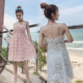 2018夏裝新款正韓名媛氣質甜美流蘇性感v領吊帶裙低胸露背連衣裙 限時八八折最後三天