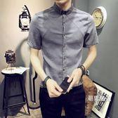 襯衫男短袖夏季新品正韓青年修身潮流帥氣棉麻半袖衫休閒男士襯衣M-3XL
