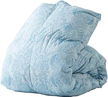 Iris Plaza 【日本代購】羽絨被單人白鴨絨85% 柔軟桃皮絨加工150×210cm 日本製 - 藍色