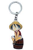 【卡漫城】 魯夫 金屬 鑰匙圈 坐木桶 ㊣版 Luffy One Piece 海賊王 航海王 吊飾 ~ 130元