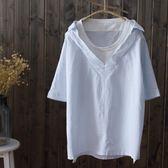短袖襯衫 純棉韓版寬松條紋女假兩件學院風中長款