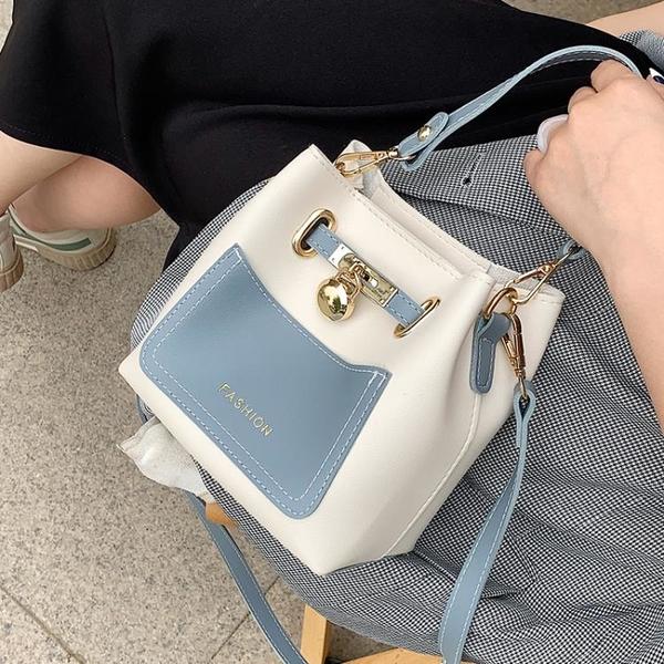 撞色手提小包包2021新款潮時尚斜挎包女包夏季百搭質感單肩水桶包 小艾新品