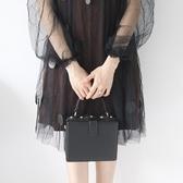 肩背包-純色方形箱包韓版時尚女手提包3色73so15【巴黎精品】