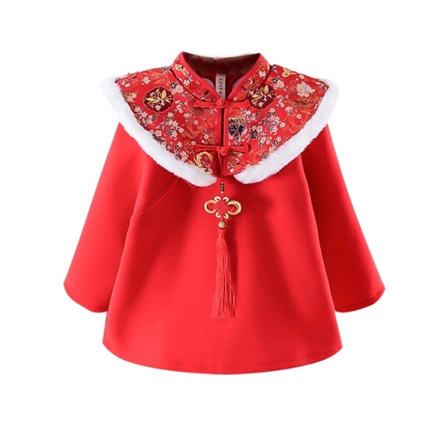 中國風刺繡毛毛旗袍領毛尼長版上衣 旗袍裝 童裝 過年 唐裝 新衣 喜酒 女童 拜年服 新年 橘魔法