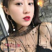 韓國簡約氣質珍珠吊墜圓環耳環女