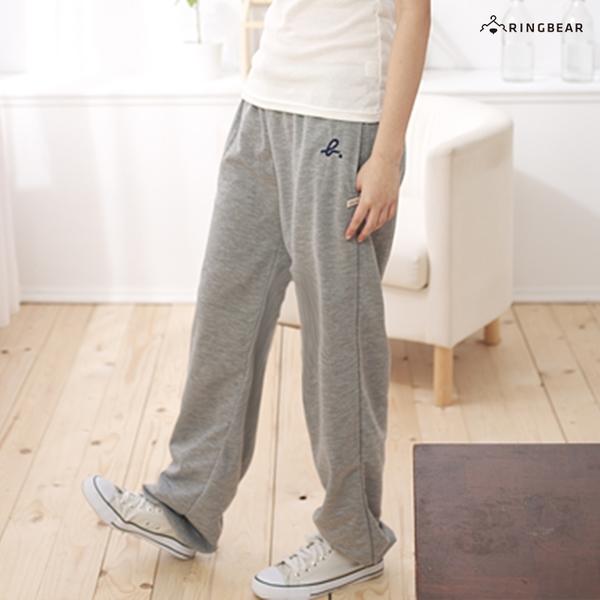 運動--實穿款繡英文抽繩鬆緊褲頭縮口運動棉褲(黑.藍.灰L-4L)-P03眼圈熊中大尺碼