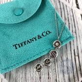 BRAND楓月 TIFFANY&CO. 蒂芬妮 AU750 K18 白金 墜飾 小鑽 羅馬字 項鍊 4.6G 配飾 配件