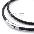 《 QBOX 》FASHION 飾品【L10021622】精緻個性黑色編織真皮革鈦鋼項鍊子/黑皮繩