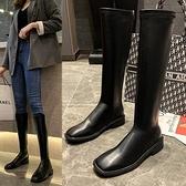 膝上靴 網紅長筒騎士靴女2020秋冬季新款方頭粗跟馬靴不過膝靴高筒瘦瘦靴