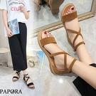 PAPORA短絨面休閒羅馬平底涼鞋KQ2533黑/棕(偏小)