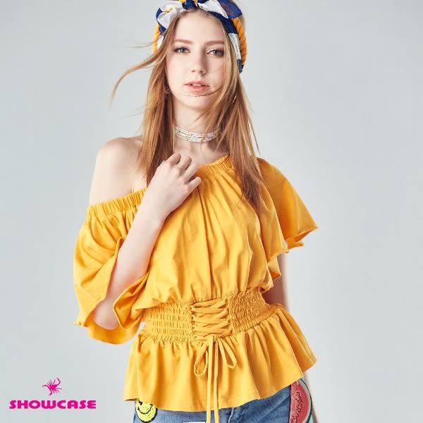 【SHOWCASE】一字領荷葉袖彈性縮腰綁帶上衣(黃)